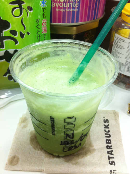 Tall Green Tea Frap, no fat milk, no whip Starbucks  Midday 'snack' sponsored by my boss. :D We managed to get the nearby Starbucks to deliver directly to our office! Matched with birthday chocolate cake for my colleague! (no pic thou unfortunately, baked by me)