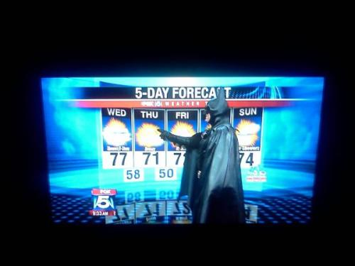 "edwardspoonhands:  thefrogman:  ""Thursday will be partly cloudy with a 100% chance of justice.""  I would watch the local news if they were in super-hero costumes…but that is the only way."