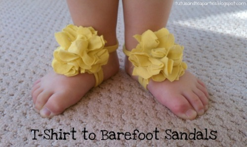 DIY Baby and Toddler Tee Shirt Barefoot Sandals. Tutorial from Tutus & Tea Parties here. *Found while putting together my roundup on barefoot sandals on my other blog here.