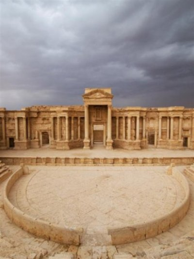 "#49. Palmyra ""There is a temple in ruins stands, Fashion'd by long forgotten hands: Two or three columns, and many a stone, Marble and granite, with grass o'ergrown!"" Lord Byron"