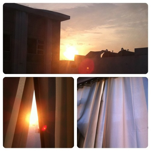 I can feel your warmth through my curtains, Mr. Brightside. :) #nofilter #sun #sunset #light #sunlight #clouds #sky #nature #beauty #beautiful #random #stuff #frametastic #igers #igersph #instagood #instagram #instadaily #webstagram  (Taken with instagram)