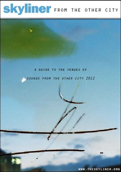 A guide to the venues of Sounds From the Other City 2012, featuring tales from a Chapel Street crypt, a time capsule, the smallest listed building in Salford, William Mitchell's Minut Men and a very special wall!Photography by Jennifer Brookes  Jennifer used lemon juice to partially destroy the film before developing. Please click the image to read the brochure in full screen