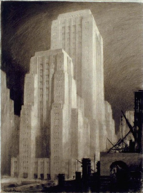 Futurism in Architecture.  Hugh Ferriss (1889 – 1962) was an American visionary architect who created perspective drawings of futuristic buildings. With is drawings, he influenced whole generation of architects. via: WE AND THE COLORFacebook // Twitter // Google+ // Pinterest