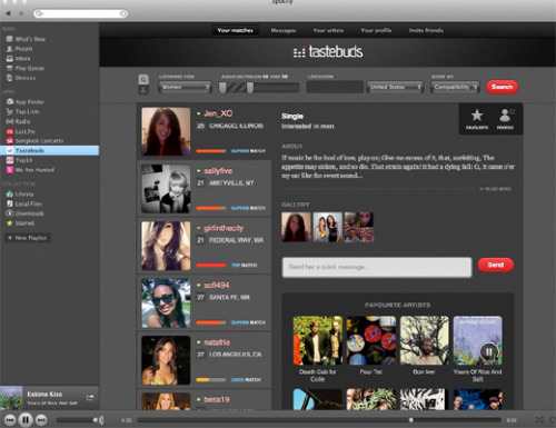 thenextweb:  The Tastebuds.fm app allows users to share mixtapes with each other using Spotify's in-built playlists. So that's one item on the romantic check-list already sorted out then and there. With Fellody, users can check the app's community and see what's trending in musical choices with other users. (via Spotify Launches Apps for Those Looking for Love)