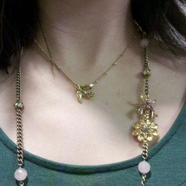 Feeling like #spring with my @chloeandisabel #bird and #garden charm necklace. #chloeandisabel (Taken with instagram) bird pendant - $28 pearl + garden charm necklace - $58