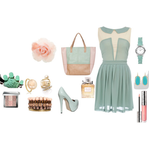 Playing with pastel colour by neysabila featuring shopping tote bagsDorothy Perkins peter pan collar dress, $55Patent leather platform pumps, £36Miso shopping tote bag, £22Astley Clarke pink ring, $180Ariella Collection flower jewelry, $68Kendra Scott 14k earrings, $52Timex watch, $45Pieces flower jewelry, $16Warehouse flower hair accessory, $45Bobbi Brown Cosmetics face powder, $50By Terry lip gloss, $44Christian dior perfume, £49
