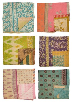 Eclectic interior ~ vintage kantha handicraft quilts from india