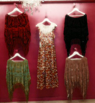 Our fabulous poncho wall dripping in vintage silk & indian beads