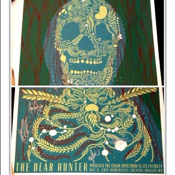 Super awesome poster for The Dear Hunter's Color Spectrum show designed by Cameron Thorne. It came as a set and I got the bottom half signed by the entire band and Cameron. Such an amazing night.