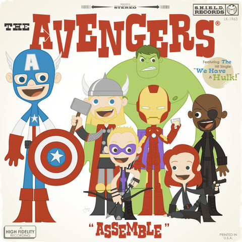 Funky retro all-ages Avengers by Joey Spiotto
