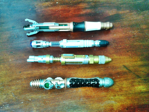 My Doctor Who Sonic Screwdriver collection. The Eleventh Doctors SonicThe Tenth Doctors SonicThe Masters Sonic (Laser)My Sonic (Made with the build your own sonic set) Need River Songs Sonic and the Third Doctors Sonic to complete my set. Yes.. WELL AWARE that this is fan boyish. lol