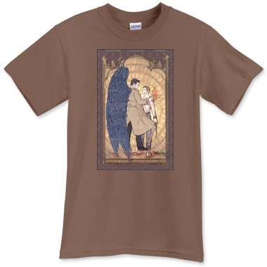 Angelic Intervention - Dean is Saved Tee by Karadin Heavyweight and high-quality, Available in our widest variety of sizes from Kids XS - Adult 5XL (36 select colors to choose from).  6.1 oz. 100% preshrunk cotton jersey fabric Seamless collar Durable double-stitched seams and bottom hem 100% satisfaction guarantee http://www.printfection.com/karadin/Angelic-Intervention/_s_507891