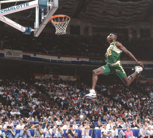 Today, in Throwback Sports Photography Shawn Kemp dunks, 1991, via Sports Illustrated. Kemp recently appeared onstage with Seattle sportswriter Steve Kelley to perform a scene from Shakespeare's Taming of the Shrew in support of the Seattle Shakespeare Company.