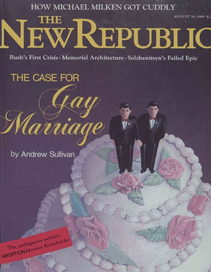 "Robert Wright on Gay Marriage, Barack Obama, and Andrew Sullivan  I was at the New Republic in 1989 when Andrew Sullivan published his pathbreaking cover story ""The Case for Gay Marriage."" There are two things about the experience that may be hard to convey to people younger than 25, maybe even 30: 1) What a radical idea this seemed like at the time. I'm not sure I'd ever heard anyone mention gay marriage, and I'd certainly never seen a written defense of it. 2) How important a single magazine could be in pre-internet days. Mike Kinsley, who for my money is the most amazing editor of his generation, had during the 1980s made the New Republic the magazine in Washington. The combination of these two things was potent. When you take an off-the-charts idea and unveil it on the most prominent stage in Washington, it gets people talking. Yesterday, when President Obama embraced gay marriage, this was a kind of culmination of the conversation that Andrew, more than any other person, started. Read more. [Image: The New Republic]"