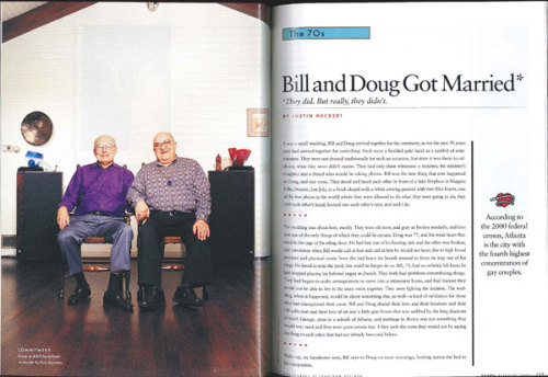 Bill and Doug Got Married**They did. But really, they didn't. From Our Archives: In light of North Carolina's recent constitutional amendment, here's an article from February 2005 about a gay Georgia couple that got married, as currently featured on Longform