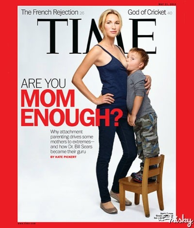 "Whoa. Hi there, TIME magazine. You went there, didn't you? I'm as pro-breastfeeding-in-public as one can be, but this cover photo the intentional provocation of this cover annoys me. The 26-year-old mother Jamie Lynne Grumet is model-hot and that's no accident; nor is it an accident that her child she is breastfeeding is three-years-old, an age which some may argue is ""too old"" to be nursing at their mama's breast. I make no judgments about this mother's attachment parenting or breastfeeding. But I wonder, will the visceral reaction to this provocative cover — which I would place bets on being covered up at newsstands, a la Cosmopolitan titties — do more harm to the parenting tactics she believes in than it will do good? (via TIME Magazine Goes There With Toddler Breastfeeding Cover - The Frisky)"