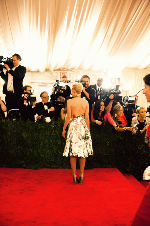 Carey Mulligan in Prada photographed by Jamie Beck at the Met Gala, May 2012