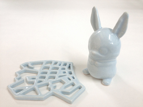 Eggshell Blue 3D Printed Ceramics at Shapeways on Flickr.