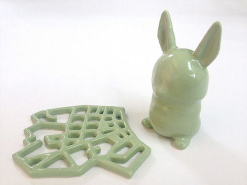 Avocado Green 3D Printed Ceramics at Shapeways on Flickr.