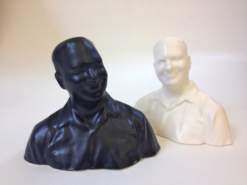 Satin Black and Satin White 3D Printed Ceramic Cory Doctorow at Shapeways on Flickr.