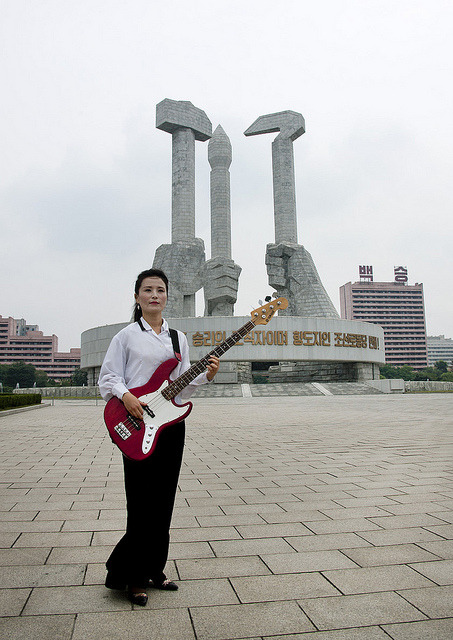 Young Woman Playing Bass On National Day On Square, Pyongyang North Korea by Eric Lafforgue on Flickr.
