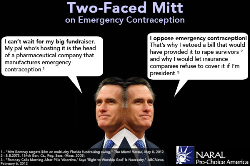 Two-faced Mitt Romney is at it again.   This time, he won't let his opposition to emergency contraception get in the way of raising cash for his campaign.