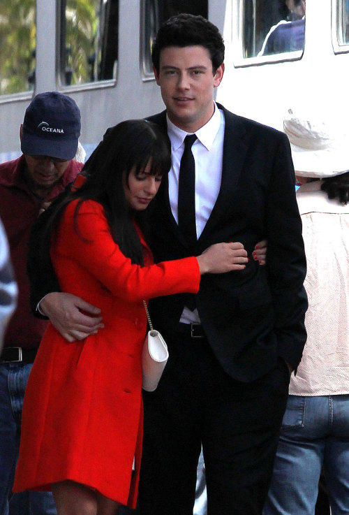 Lea Michele cuddles up to Cory Monteith on set. Click here for more pics!