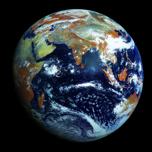 unknownskywalker:  The highest-resolution image of Earth ever made This is the highest resolution image of Earth ever made, 121 megapixels. That's an amazing 0.62 miles per pixel. It was taken by Russia's latest weather satellite, the Electro-L, which is orbiting Earth on a geostationary orbit 36,000 kilometers above the equator, sending photographs of the entire planet every 30 minutes. The image combines four light wavelengths, three visible and one infrared. The three reflected sunlight bands can simulate a conventional red-green-blue color picture. The near infrared channel (orange in the image) is a vegetation indicator, since plants reflect near-ir as well as green. Download original image: 105 MB, JPG