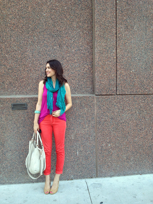 modcloth:  Kendi of Kendi Everyday in a vibrant purple shirt.  so much color makes hannah happy.