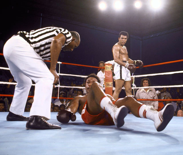 "siphotos:  George Foreman lies on the canvas after being knocked out by Muhammad Ali during the eight round of their famous 1974 ""Rumble in the Jungle"" match in Zaire. The fight remains a high point in Ali's career as most experts predicted a victory for the younger and stronger Foreman. (Tony Triolo/SI) GALLERY: Rumble in the Jungle"