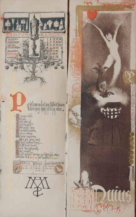 Illustrated by Manuel Orazi (1860-1934), this occult calendar for 1896 was printed in an edition of 777. View the entire collection here or here. More of Orazi's work can be seen at Feuilleton and also at the Art Nouveau Society.from http://thombeau.blogspot.fr/