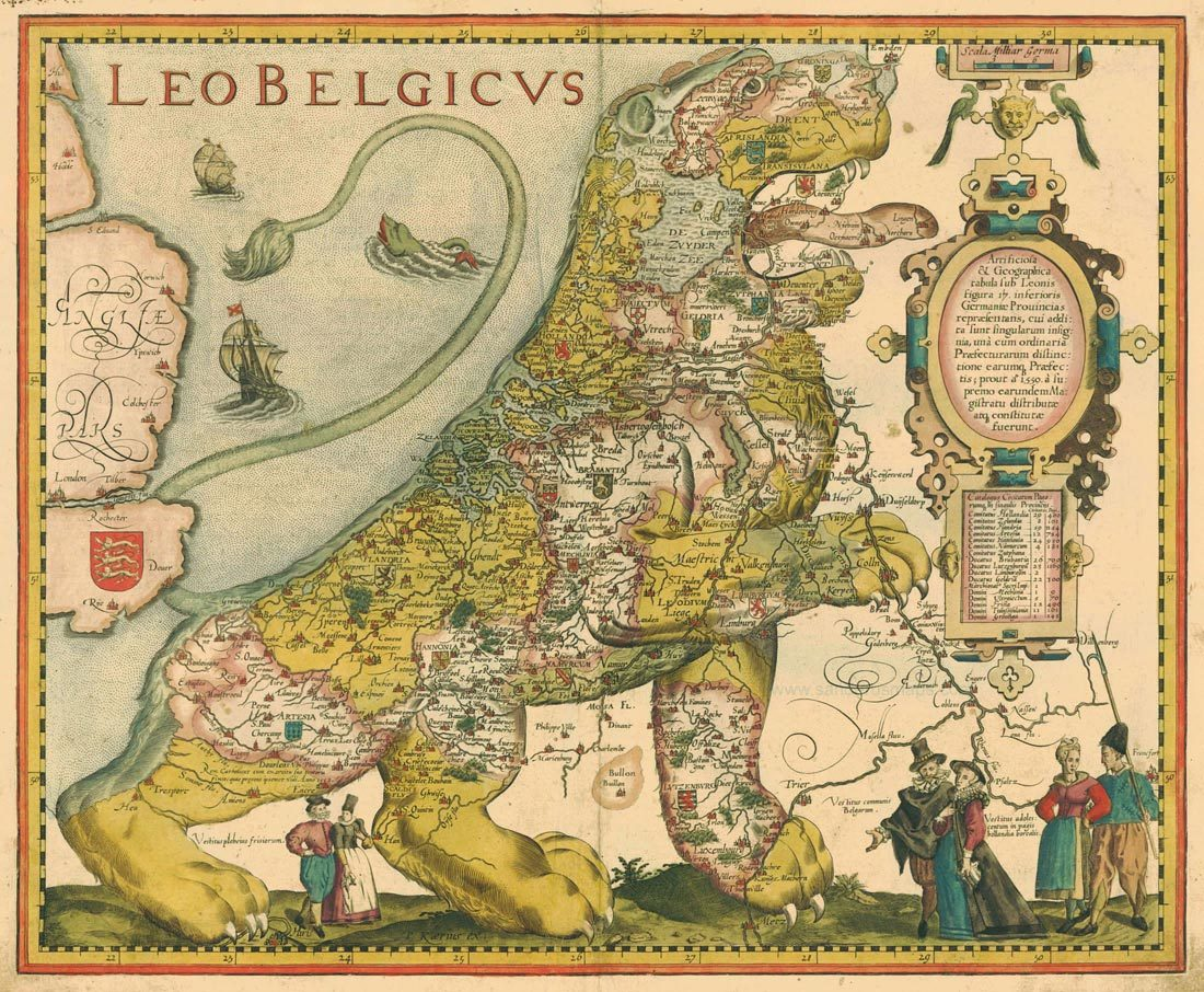 ilovecharts:  Benelux is a lion Leo Belgicus by Petrus Kaerius (1617) for xpetrichor