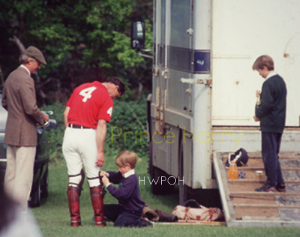 "princeharryfanpage:  Cute Little Prince Harry helping his ""Papa"" Prince Charles in wearing Shoes..before a Polo Match..!and Prince William in Right standing on staris..! ♥ L.O.V.E ♥"