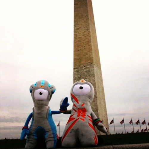 ladyfabulous:  alpha-lima-lima:  ukinusa:  London 2012 mascots Wenlock and Mandeville visit the Washington Monument in DC (Taken with instagram)  The mascots are drops of steel. I don't really get it, but there have been very few Olympic mascots that I have truly loved. Aside from Cobi, of course.  Cobi was the Barcelona 1992 mascot and I had a shirt and a stuffed animal with him on it. I wore that shirt for years.  It was all about Quatchi ya'll.   Vancouver had a sasquatch.  Your argument is invalid.