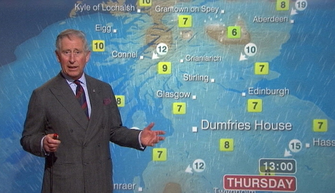 PHOTOS: Britain's Prince Charles does the weather for the BBC