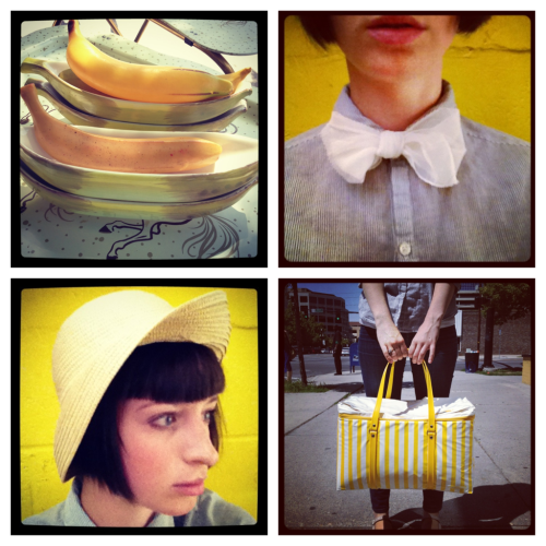 A Few Of My Favorite Things:  a. Banana Splits b. Vintage Scarf Bow Ties c. Vintage Sun Hats d. Vintage Thermo Keep Bag (great for days at the famers market)