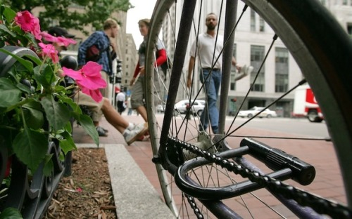 "theatlantic:  To Catch a Bike Thief: D.C. Cyclist Tracks Down Stolen Bike Online, Steals It Back   The story of how a Washington, D.C., cyclist who recovered his stolen bike isn't the biggest news of the day, nor the most dramatic, but it's an absolute inspiration to those of us who love our bikes and fear having them stolen. NBC Washington's Richard Jordan explains: He arranged to buy his bike back. A man came out of an alley at 5th and Longfellow streets NW with the bike, and Lesh took it for a ""test ride."" Lesh simply rode off without paying. ""This guy finally started calling me, and left a message saying he was going to call the police,"" Lesh said, laughing.  [Image: AP]  This is the greatest thing I have read all day."