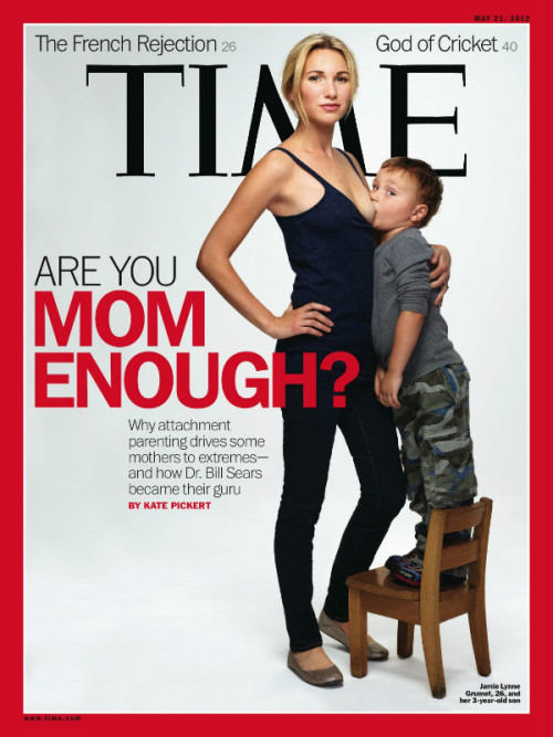 "This week's Time magazine cover features Jamie Lynne Grumet, a 26-year-old woman breastfeeding her three-year-old son. Grumet was one of four mothers photographed by Time for a cover story on ""attachment parenting,"" an approach—outlined by 1992's ""The Baby Book"" by Dr. Bill Sears—that recommends extended breast-feeding, co-sleeping and ""baby wearing."" I'm a proud supporter of breastfeeding and doing what you feel is best as a mother… but I do NOT think that child is 3. He's like 8.  Discuss Mom{e}'s! What do you think of Time's cover? Is it just an attempt to sell more magazines or is it a step in the right direction for breastfeeding moms everywhere and acceptance of this nurturing practice?"
