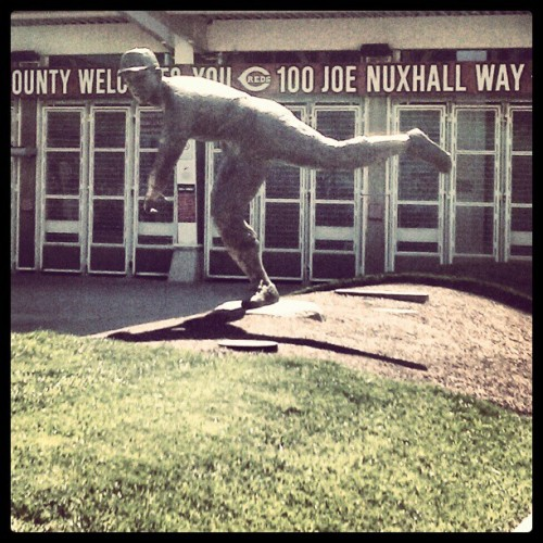 Joe Nuxhall statue in front of GABP in Crosley Terrace