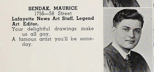 laughingsquid:  Maurice Sendak's High School Yearbook Foresees His Future