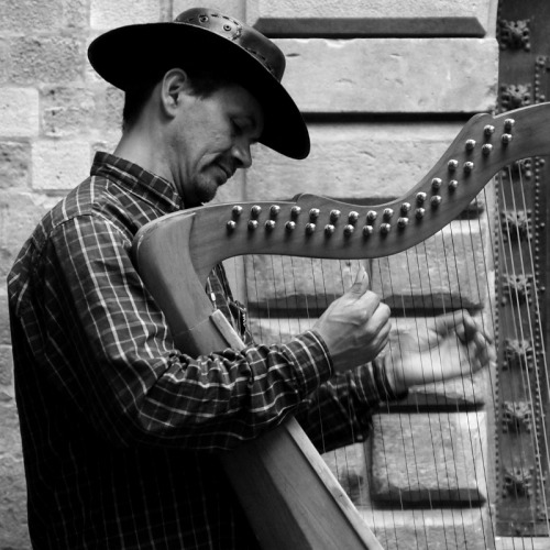 The Sweetest Sound A harpist performs on a street corner in Barcelona's Gothic Quarter.  Taken August 2011. Facebook    Twitter    RedBubble   Flickr