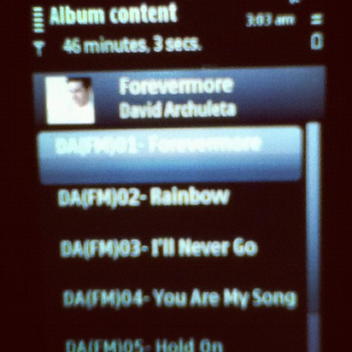 "Just finished uploading the entire ""Forevermore"" album of David Archuleta! ☺ Yey, new songs to listen to. :)  (Taken with instagram)"