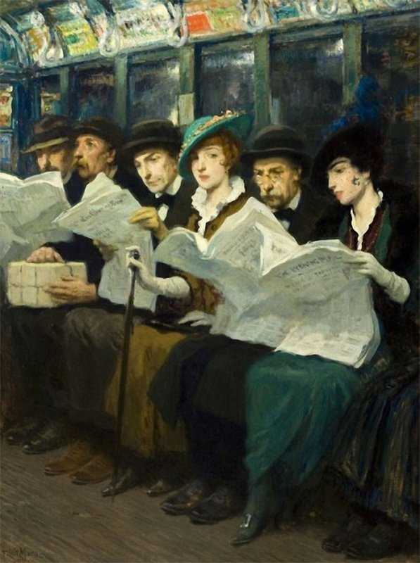 poboh:  Subway riders, New York City, 1914, Francis Luis Mora. American Painter, born in Uruguay (1874 - 1940)