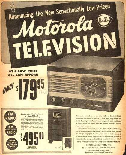 mrsdentonorahippo:  Motorola's Television – Announcing the New Sensationally Low-Priced Motorola Television (1948)