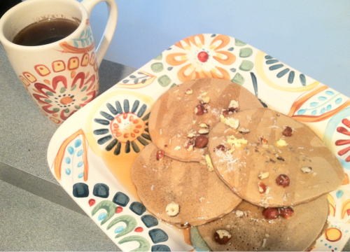 pb2 protein pancakes with coffee dark chocolate chips and hazelnuts (pairs perfectly with my real coffee).   dear self, welcome home. (now it's official.)