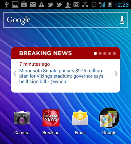 "Get breaking stories on your Android home screen:  After many requests, we've rolled out a new Breaking News Android app with a home screen widget.  When you open up your phone, you'll get caught up on the latest news of the moment in a single glance.  Stories are updated every few minutes (and you can manually refresh), and you can scroll through the last five updates. Tap a story to visit it inside the app.  ""Widget sells it,"" says one five-star commenter on Google Play. If you've never installed a widget before, once you've updated the app, visit the widget section of your respective Android phone and include it on your home screen.   And please let us know if you have any questions! (Post by @corybe)"