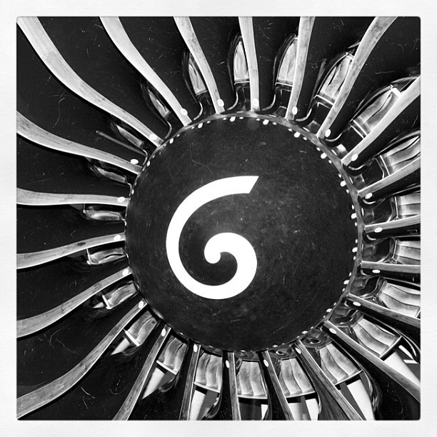 A close-up of GE90 fan blades at #GE #Aviation in Cincinnati, OH. #engine #technology #manufacturing (Taken with instagram)