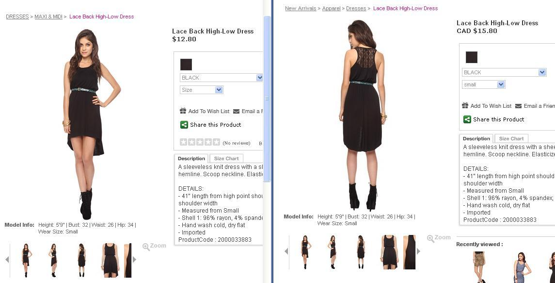 Lace Back High-Low Dress When I first checked the dress it was at $12.80 but when I signed in to my account and tried to view and add it to my bag, it became $15.80. Now, I'm thinking about whether I should still buy it or not. Because I'm kuripot like that. (edit: I just realized it's because of the conversion. It changed to CAD when I signed in. Stupid me. haha!)