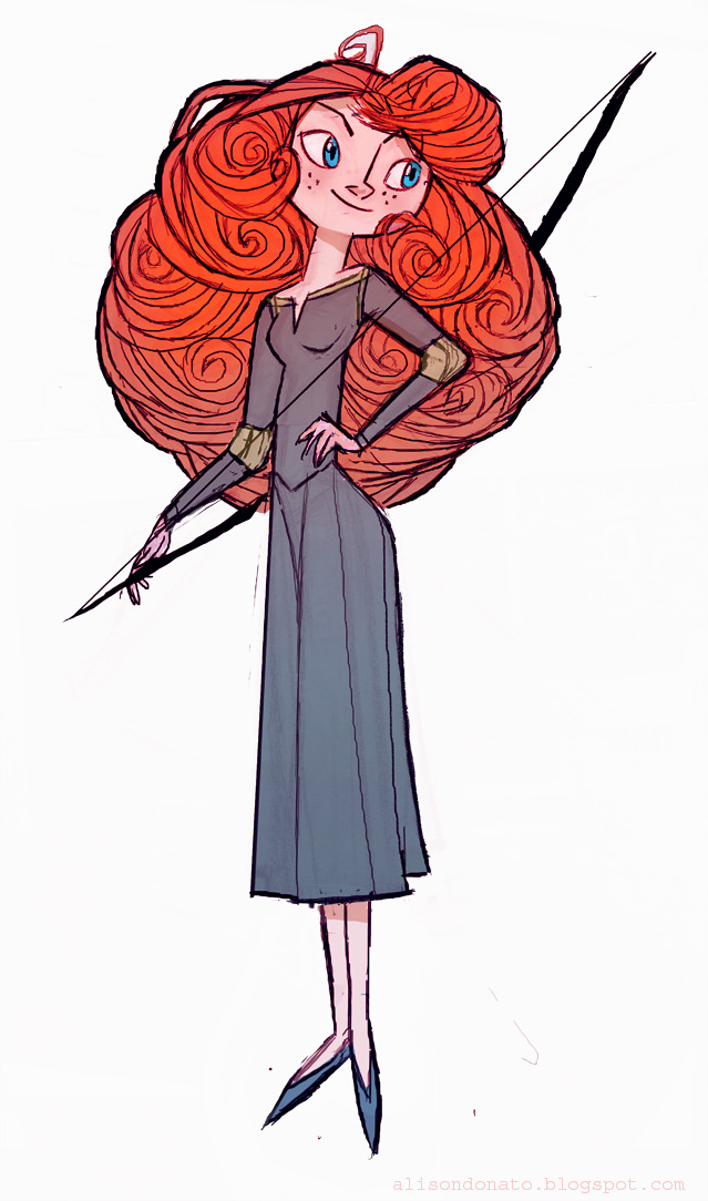 Colored version of the Merida/Brave fanart yesterday :)