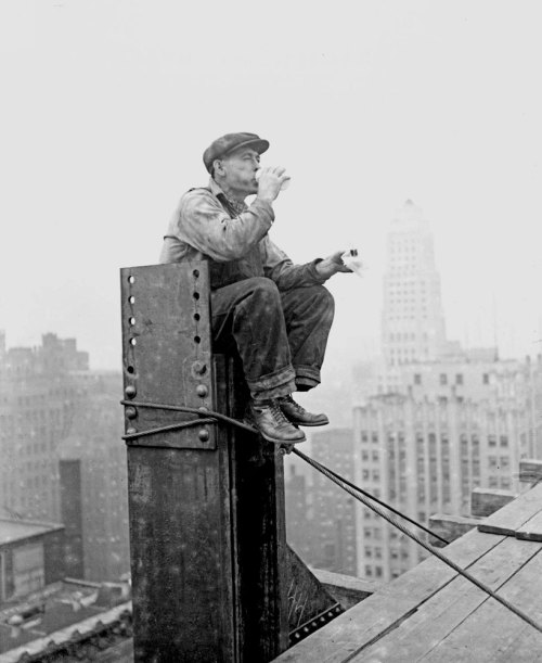 A construction worker takes a break atop the frame of the One LaSalle Street building in 1929. Photograph from the Chicago Daily News. Want a copy of this photo?> Visit our Rights and Reproductions Department and give them this number: DN-0089665 Connect with the Museum